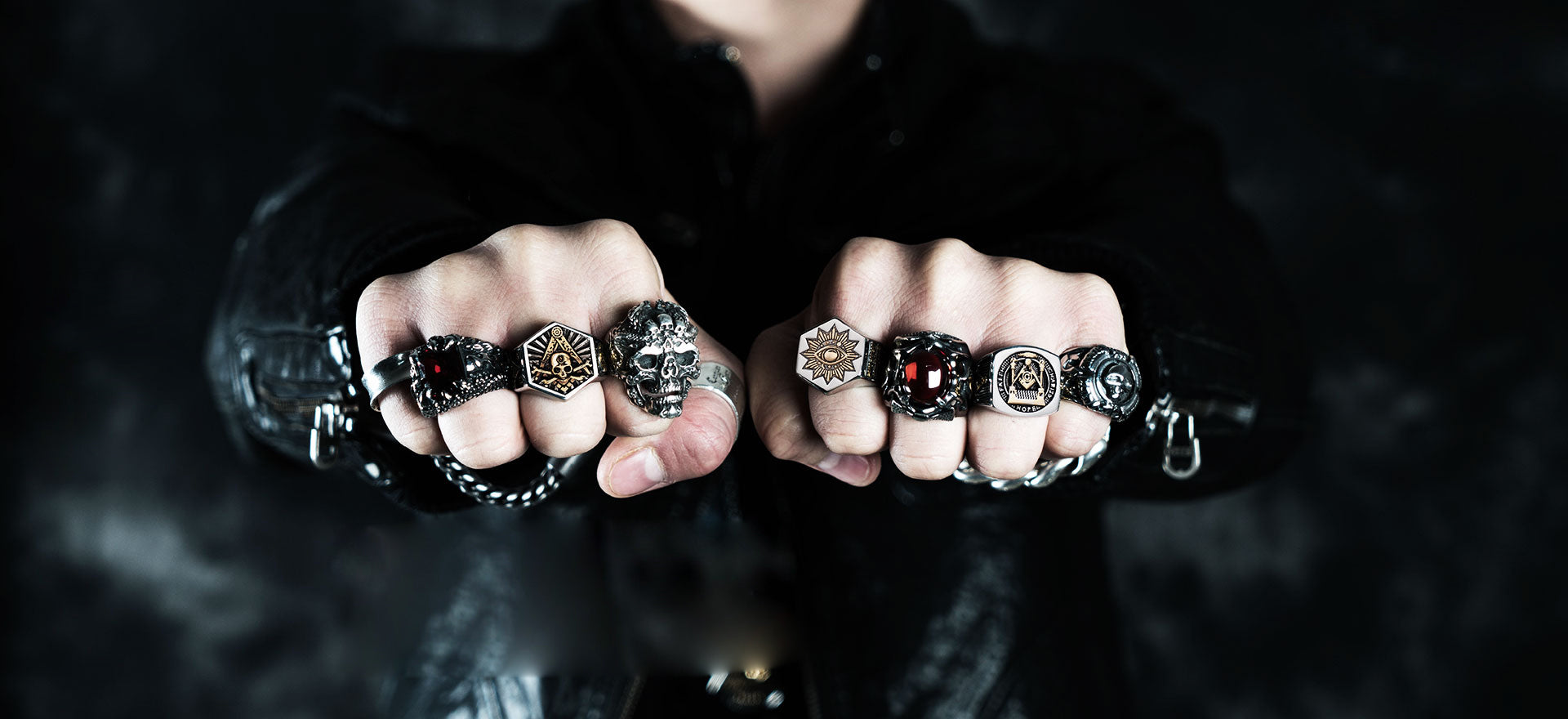 Biker rings skull rings gothic rings cross rings