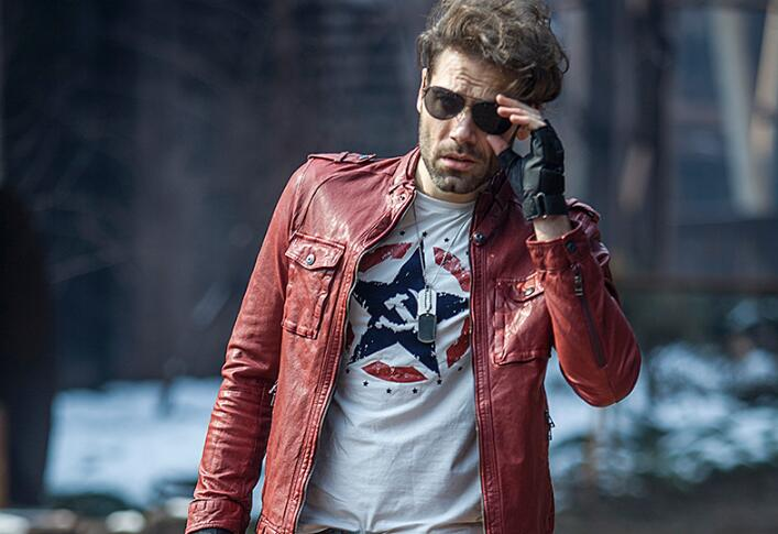 red men leather jacket biker jewelry