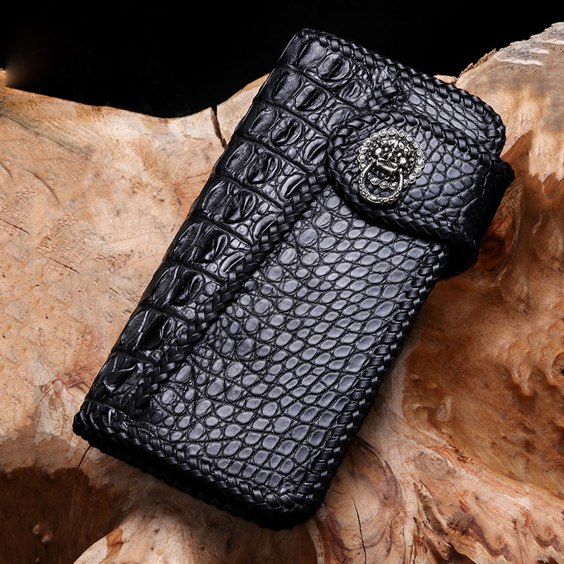 cool crocodile skin black biker wallet