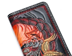 Handmade Leather Chinese Lion Mens Tooled Long Chain Biker Wallet Cool Leather Wallet With Chain Wallets for Men