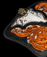 Handmade Leather Tooled Floral Mens Long Chain Biker Wallet Cool Leather Wallet With Chain Wallets for Men