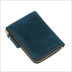 Leather Small Mens Wallet Zipper billfold Front Pocket Wallet Card Wallet Small Wallet for Men