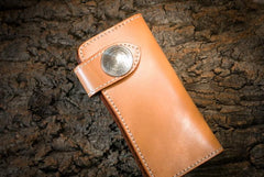 Handmade Leather Mens Cool Beige Long Chain Wallet Biker Trucker Wallet with Chain