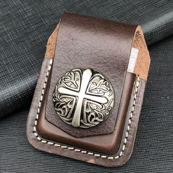 Coffee Handmade Leather Mens Cross Zippo Lighter Holders Lighter Case For Men