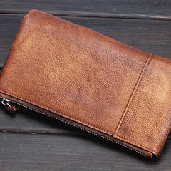 Handmade Leather Mens Cool Long Leather Wallet Wristlet Clutch Wallet for Men