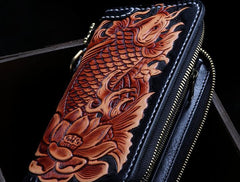 Handmade Leather Tooled Carp Mens Tooled Chain Biker Wallet Cool Leather Wallet Zipper Long Phone Wallets for Men