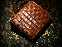 Handmade Leather Braided Mens Short Wallet Cool Leather Wallet Slim Wallet for Men