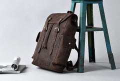 Handmade Leather Mens Cool Vintage Backpack Large Travel Bag Hiking Bag for Men