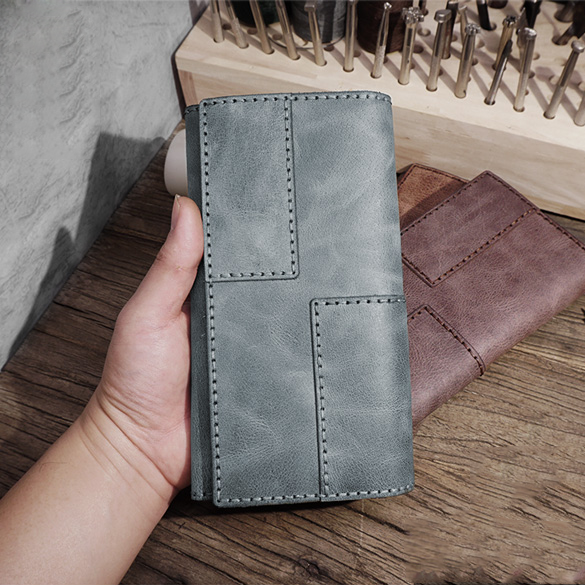 Mens Leather Trifold Long Wallet Lots Cards Handmade Checkbook Long Wallet for Men