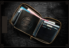 Handmade Leather Maheshvara Tooled Mens billfold Wallet Cool Chain Wallet Biker Wallet for Men