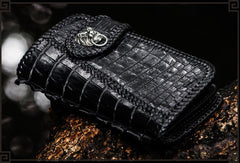 Handmade Leather Black Mens Chain Biker Wallet Cool Leather Wallet Long Clutch Wallets for Men