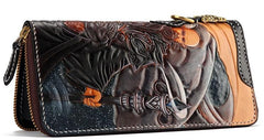 Handmade Leather Taming Dragon Mage Mens Tooled Long Chain Biker Wallet Cool Leather Wallet With Chain Wallets for Men