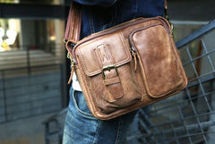 Cool Leather Mens Small Messengers Bag Shoulder Bags for Men