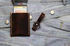 Leather Mens Slim Front Pocket Wallets Coffee Leather Cards Wallet for Men