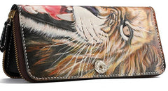 Handmade Leather Tooled Tiger Mens Chain Zipper Biker Wallet Cool Leather Wallet Long Phone Wallets for Men