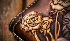Handmade Leather Tooled Horse Mens Chain Biker Wallet Cool Leather Wallet Long Phone Wallets for Men