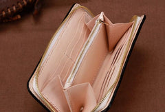 Handmade Leather Mens Clutch Wallet Cool Pixiu Tooled Wallet Long Zipper Wallets for Men