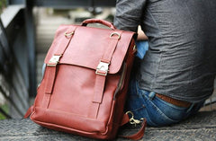 Red Brown Leather Mens Backpack Travel Backpacks Laptop Backpack for men