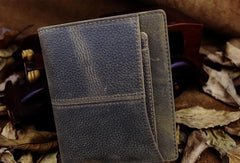Handmade Leather Mens Cool Slim Leather Wallet Men Short Wallets Bifold for Men