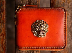 Handmade Leather Tibetan Tooled Mens Short Wallet Cool Small Chain Wallet Biker Wallet for Men