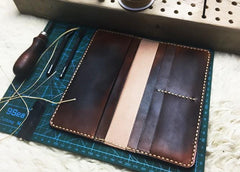 Vintage Leather Bifold Mens Long Wallet Coffee Leather Long Wallets for Men