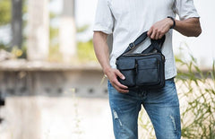 Black Cool Small Leather Mens Messenger Bags Shoulder Bags for Men