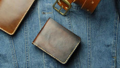 Vintage Leather Mens Bifold Small Wallet Leather Small Wallets for Men