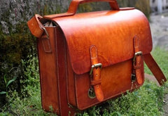 Handmade Leather Cool Mens Brown Briefcase Messenger Bag School Bag for men