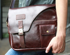 Cool Leather Mens Large Messenger Bags Shoulder Bag for men