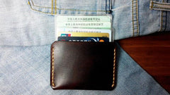 Dark Brown Leather Mens Slim Front Pocket Wallets Leather Cards Wallet for Men
