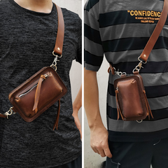 Handmade Brown LEATHER MEN Belt Pouch Waist BAG MIni Green Side Bag Belt Bag FOR MEN