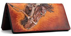 Handmade Leather Fine Horse Mens Tooled Long Chain Biker Wallet Cool Leather Wallet With Chain Wallets for Men