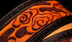 Handmade Genuine Leather Tooled Chinese Dragon Mens Belt Custom Cool Leather Men Belts for Men