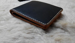 Black Leather Mens Bifold Small Wallet Leather Small Wallets for Men