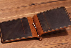 Handmade Genuine Leather Wallet Short Leather Wallet Slim Bifold Wallet Bag For Mens