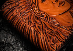 Handmade Leather Indian Chief Tooled Mens Short Wallet Cool Leather Wallet Small Wallet for Men