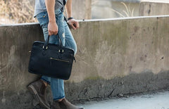 Coffee Leather Mens Briefcase Work Bag Laptop Bag Business Bag for Men