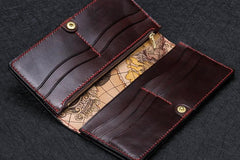 Handmade Leather White Jambhala Mens Tooled Long Chain Biker Wallet Cool Leather Wallet With Chain Wallets for Men