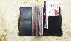 Mens Leather Slim Passport Wallets Coffee Leather Small Travel Wallet for Men