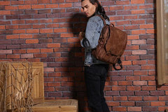 Cool Brown Mens Leather Backpacks Travel Backpacks Laptop Backpack for men
