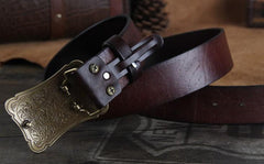 Genuine Leather Punk Rock Biker Trucker Mens Floral Belt Men Black Coffee Belt for Men