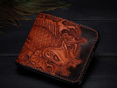 Handmade Leather Carp Tooled Mens billfold Wallet Cool Leather Wallet Slim Wallet for Men