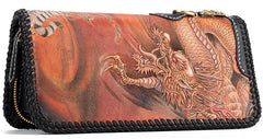 Handmade Leather Tooled Chinese Dragon Mens Chain Biker Wallet Cool Leather Wallet Long Clutch Wallets for Men