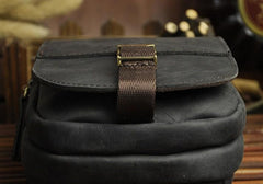 Vintage Black Leather Mens Belt Pouch Cell Phone Holster BELT BAG For Men