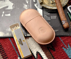 Cool Beige Leather Mens 2pcs Cigar Case Cool Custom Leather Cigar Case for Men