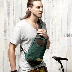 Green Canvas Sling Backpack Men's Sling Bag Coffee Chest Bag Canvas One shoulder Backpack For Men