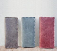 Handmade Slim Checkbook Wallet Leather Mens Bifold Long Wallet Lots Cards Long Wallet for Men