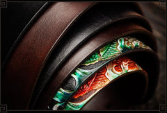 Handmade Leather Tooled Carp Mens Belt Cool Leather Men Belt for Men