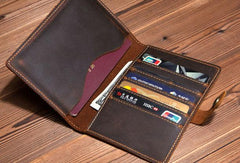 Vintage Leather Mens Passport Wallet Bifold Slim Long Wallet For Men
