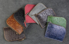 Handmade Leather Floral Mens Front Pocket Wallet Cool Slim Leather Wallet Men billfold Wallets Bifold for Men